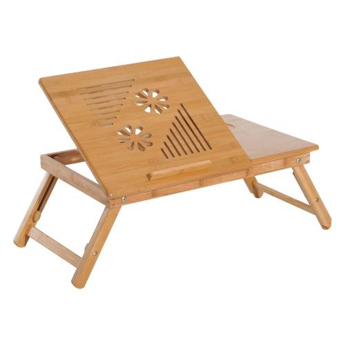 homcom 21 7 l bamboo wood laptop stand with drawer desks workstations best buy canada. Black Bedroom Furniture Sets. Home Design Ideas