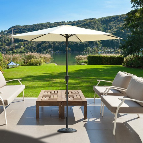Outsunny 9FT Outdoor Patio Umbrella Garden Parasol Sunshade Sun Shelter Aluminum Cream White