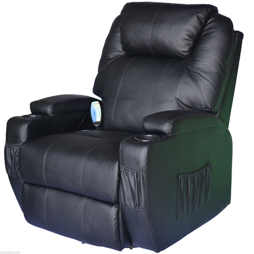 HOMCOM Luxury Leather Massage Sofa Adjustable Recliner Chair Armchair Black