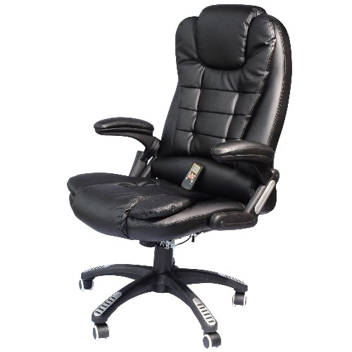 homcom heated massage executive office chair black office chairs