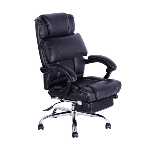 homcom luxury executive reclining office chair w/ footrest black