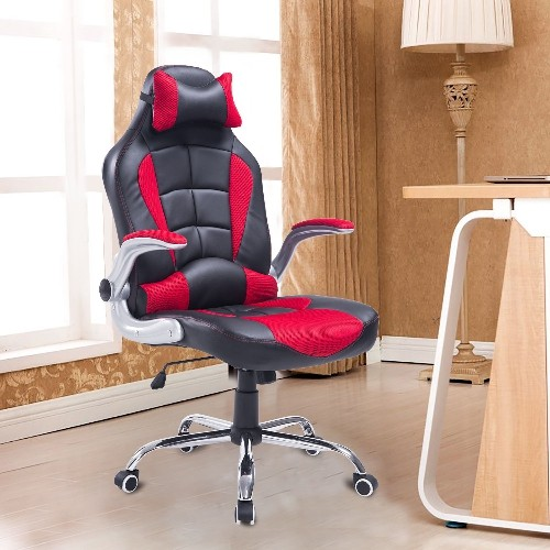 HOMCOM Racing Office Chair FauxLeather with Pillow Black/Red