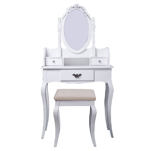 HOMCOM Wood Dresser Makeup Vanity Furniture Dressing Table Stool Set With  Mirror Chic White   Online Only