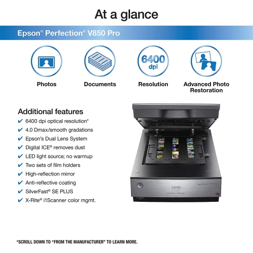 Epson Perfection V850 Pro Flatbed Scanner - 6400 dpi Optical