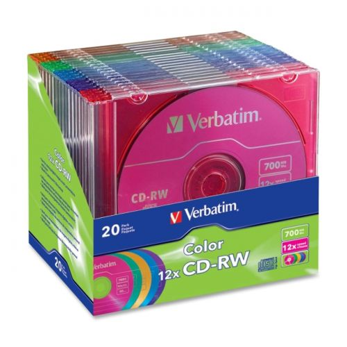 Verbatim CD-RW 700MB 4X-12X DataLifePlus with Color Branded Surface and Matching Case - 20pk Slim Case, Assorted
