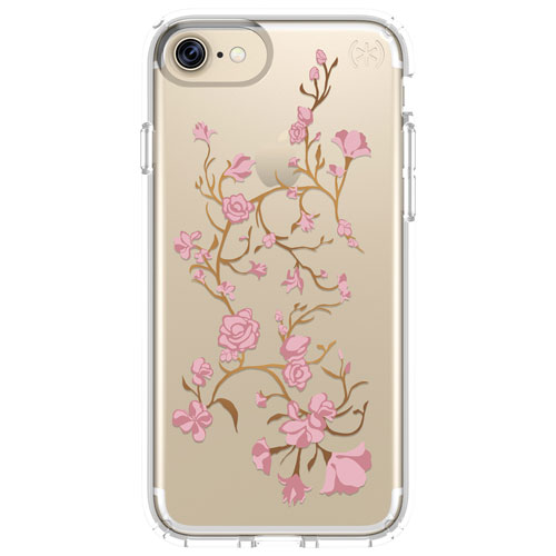 Speck 2.0 Presidio iPhone 7/8 Fitted Hard Shell - Golden Blossoms Pink/Clear