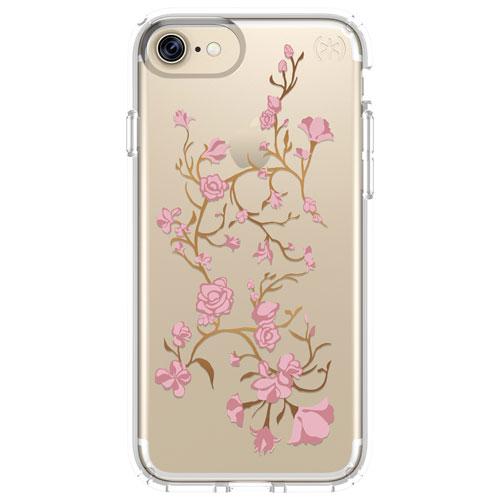 Étui rigide ajusté 2.0 Presidio de Speck pour iPhone 7/8 - Fleurs roses - Transparent