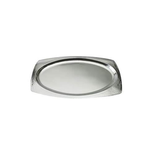 "Elegance 22"" Oval Hammered Stainless Steel Tray"