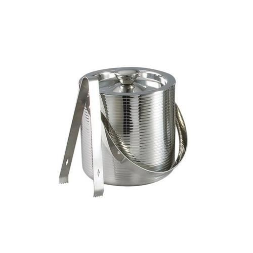 "Elegance 6"" Stainless Steel Lines Ice Bucket with Tongs"