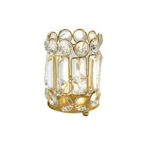 """Elegance 5-1/4"""" Crystal & Gold Candle Holder"""