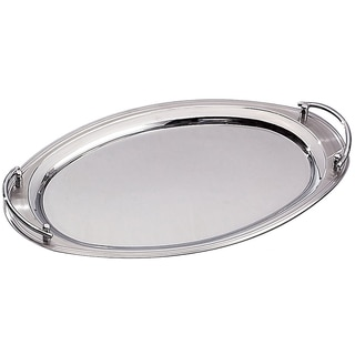 """Elegance 22"""" x 13"""" Oval Stainless Steel Tray w/ Handles"""
