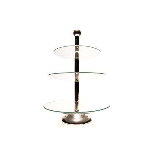 "Elegance 3-Tier Glass Tray, 19""H, Plates 9.75"", 11.5"", 13.25"""