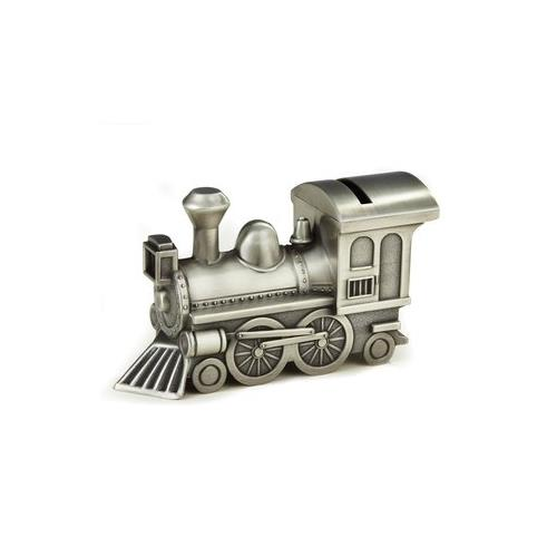 "Elegance Pewter Plated Train Bank, 3.25""H, 6""L, 2.25""W"