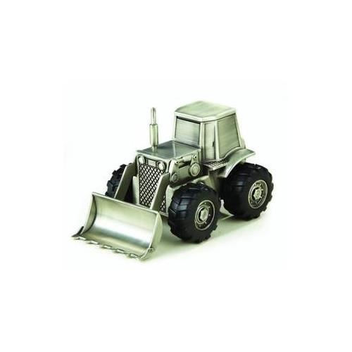 "Elegance Pewter Plated Bulldozer Bank, 3.25""H, 5.25""L, 3.25""W"