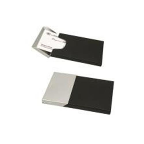 Elegance Business Card Case, Matte Black and Chrome Finish