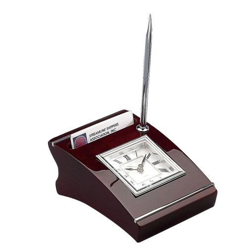 Elegance Wood Clock with Cardholder