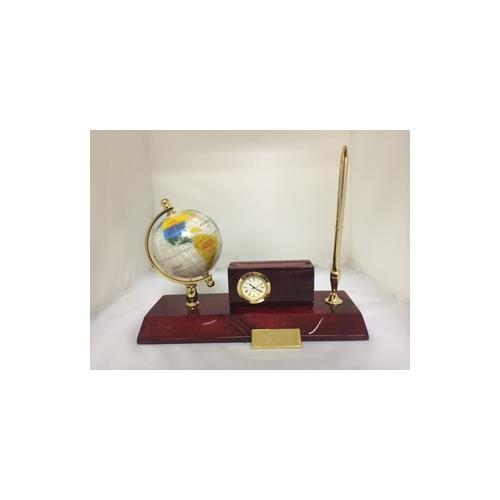 Elegance Executive Desk Set - Globe, Cardholder, Clock & Pen Stand