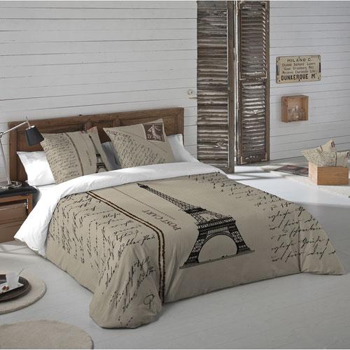 Ensemble de housse de couette en coton Paris Postcard de Gouchee Design - 3 pièces - Grand lit