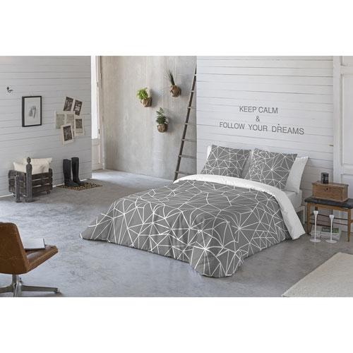 Ensemble housse de couette en coton 3 mcx Triangle de Gouchee Design - Très grand lit