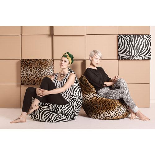Très gros fauteuil poire contemporain Afro Zebra de Sitting Point - Noir-blanc