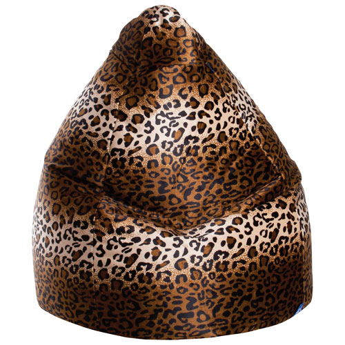 Sitting Point Afro Leopard XL Contemporary Faux Fur Bean Bag Chair - Brown