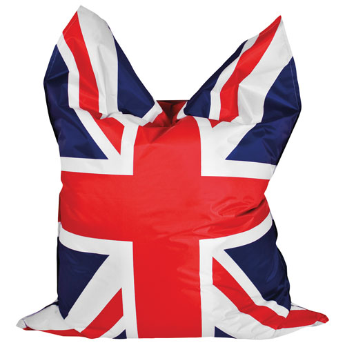 Sitting Point BigBag Union Jack XL Contemporary Bean Bag Chair - Red/Navy/White