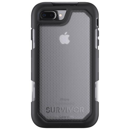 Étui rigide ajusté robuste Summit de Griffin pour iPhone 7 Plus/8 Plus - Noir - Transparent