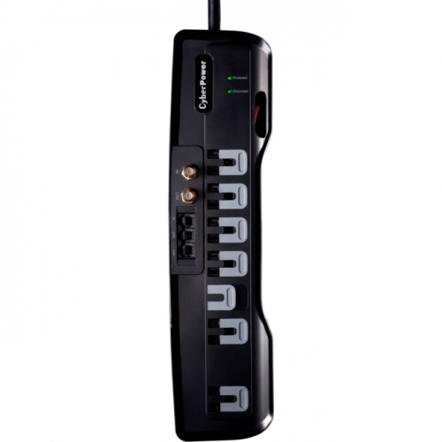 CyberPower CSHT706TC Home Theater 7-Outlets Surge Suppressor 6FT Cord and AV protection