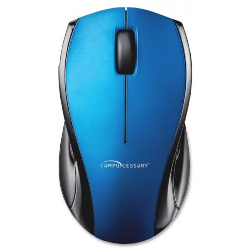 "Compucessory Wireless Optical Mouse, 2.4G, 2-1/8""x4-3/4""x1-1/8"", Blue"