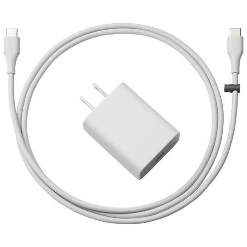 Câble USB type C de 1,8 m (5,9 pi) et chargeur mural de Google (GA3C00363-A14) - Argenté
