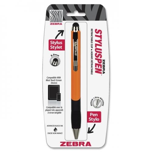 Zebra Pen Touchscreen Retract Stylus Pen, 8.0mm, Orange