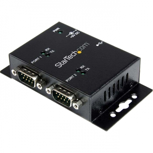 StarTech 2 Port Industrial Wall Mountable USB to Serial Adapter Hub with DIN Rail Clips