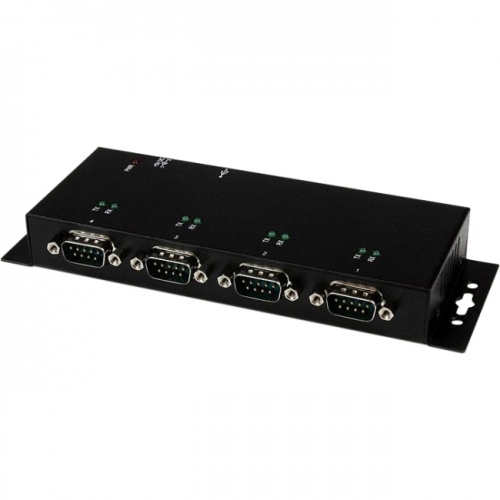 StarTech 4 Port USB to DB9 RS232 Serial Adapter Hub - Industrial DIN Rail and Wall Mountable