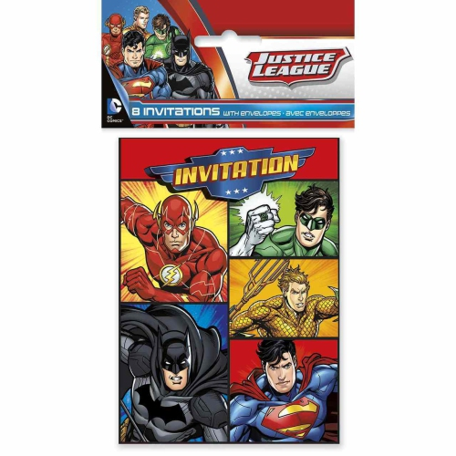 Justice League Party Invitations [8 per Pack]