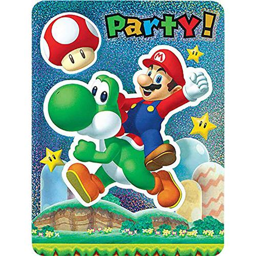 Super Mario Brothers Jumbo Deluxe Invitations [8 Per Pack]