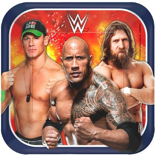 WWE 7 Square Plates [8 per Pack]