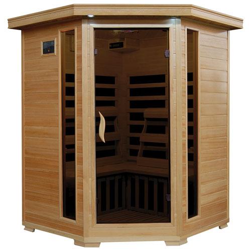 Radiant Saunas Hemlock 3-Person Infrared Sauna with Carbon Heaters - Corner Unit