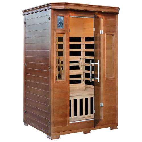 Sauna infrarouge 2 personnes en pruche avec éléments chauffants en carbone de Majestic Saunas