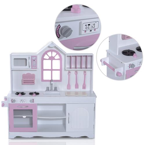 HOMCOM Kitchen Food Cooking Appliances Kids Wooden craft Pretend ...
