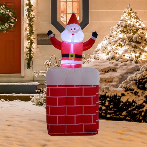 HOMCOM Airblown Christmas Inflatable Santa Claus Chimney Decoration 4 LED Lights Red