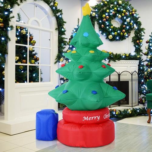 HOMCOM 7FT Christmas Inflatable 6 LED Lights Animated Rotating Xmas Tree Decor Green
