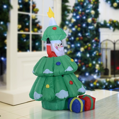 HOMCOM 5FT Christmas Inflatable Lighted Tree Hidden Santa Claus Xmas Decoration Green