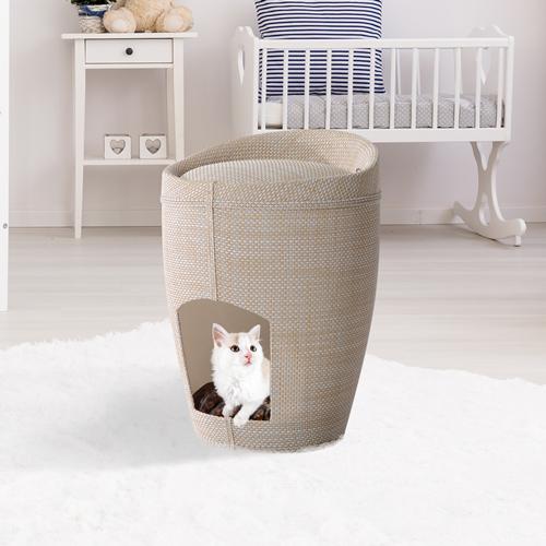 "PawHut 20""H Cat House Sit Hide Sleep Cave Pet Condo Furniture Linen w/ Cushion Beige"