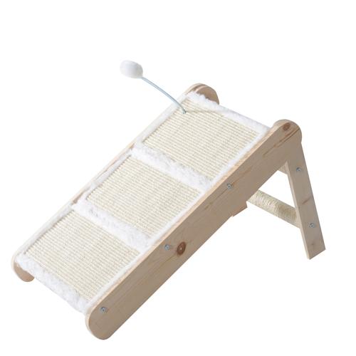 PawHut Cat Foldable Ladder 3 Steps Stair Scratcher Ramp Wood Ball Cream