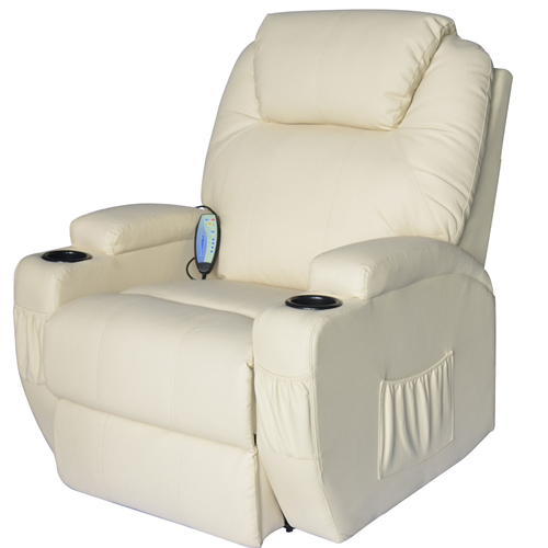 HOMCOM Luxury Massage Sofa Leather Adjustable Recliner Chair Armchair Cream