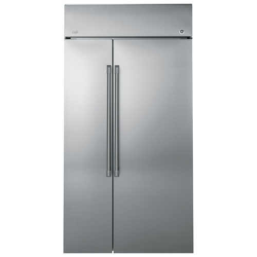"""GE Café 53"""" 30.7 Cu. Ft. Built-In Side-By-Side Refrigerator (CSB48WSKSS) - Stainless Steel"""