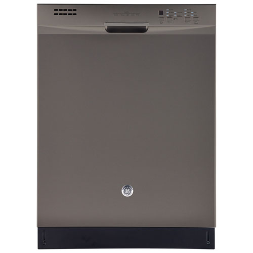 """GE 24"""" 49dB Built-In Dishwasher with Stainless Steel Tub (GDF630SSKES) - Slate"""