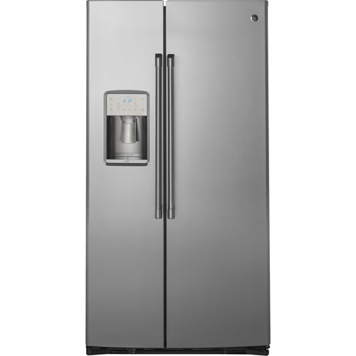 "GE Café 36"" 21.9 Cu. Ft. Counter Depth Side-By-Side Refrigerator with LED Lighting - Stainless Steel"