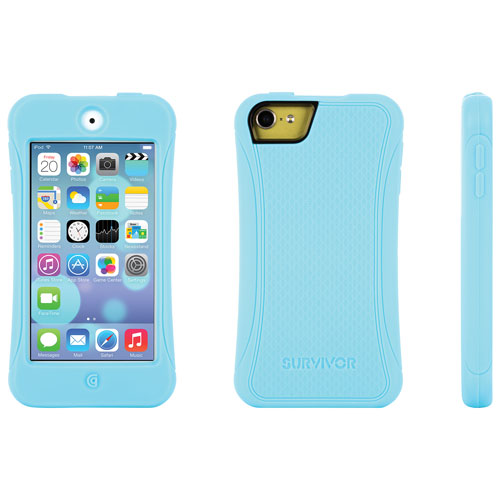 Griffin Survivor Slim iPod touch 5th/6th Gen Fitted Soft Shell Case - Turquoise/Lemon Drop