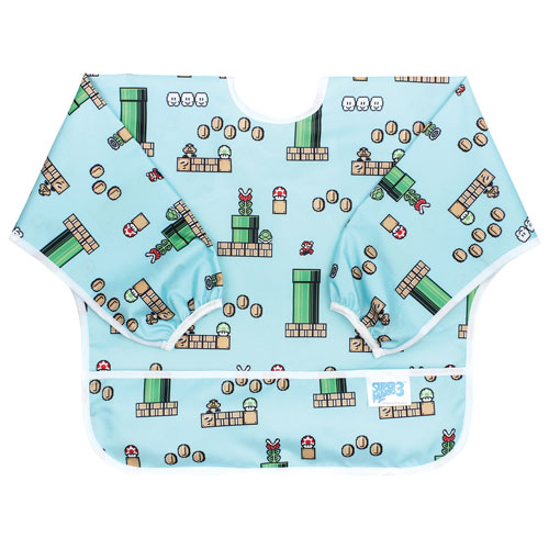Bumkins Super Mario Waterproof Sleeved Bib - 6 to 24 Months - Blue White -  Online Only b8a037b18